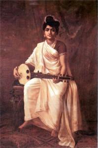 'Lady playing swarabat'. Painting by Raja Ravi Varma.