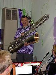 A 1920s Conn bass saxophone