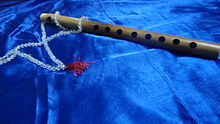 An eight-holed classical Indian bamboo flute.