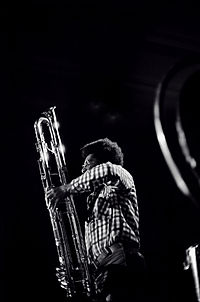 Anthony Braxton playing a paperclip contrabass clarinet in Rochester, NY. 1976