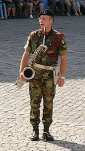 Baritone saxophonist in a military band of the Italian army.