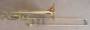 Bass trombone with F trigger and dependent D trigger