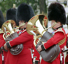 Comparison of euphonium (left) and tuba (right)