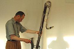 Ernst Ulrich Deuker, a German jazz musician, with a Selmer contrabass clarinet