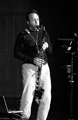 Michael Lowenstern playing bass clarinet
