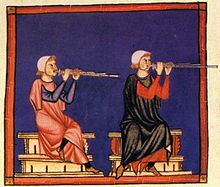 Panflute players. Cantigas de Santa Maria, mid-13th century, Spain