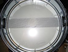 Snares on a drum