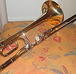 The standard rotary valve, like the one seen on this tenor trombone, is the most common valve type seen on slide trombones today.